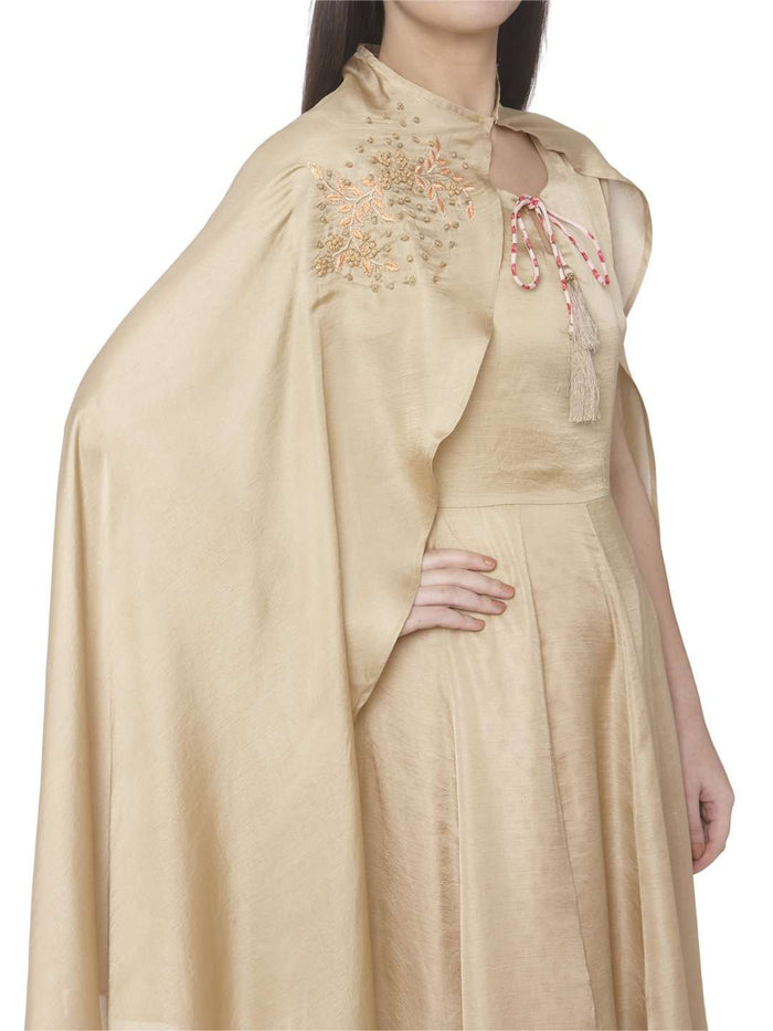 Right Side Embroidered Muslin Silk A-Line Designer Dress With Cream Color