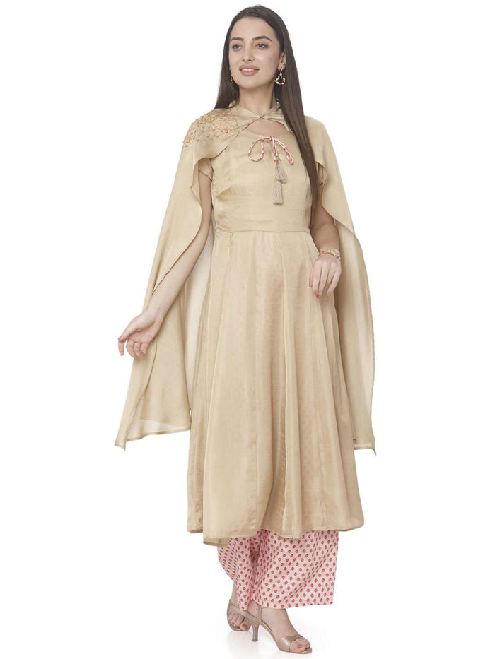 Casual Embroidered Muslin Silk A-Line Designer Dress With Cream Color