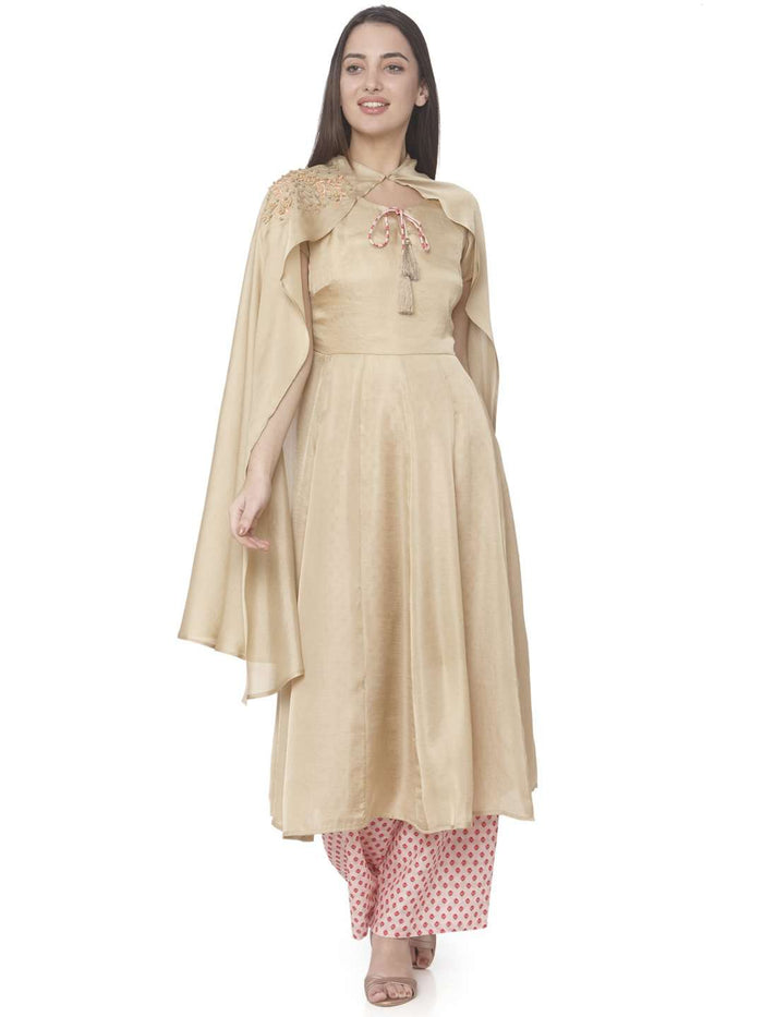 Front Side Cream Embroidered Muslin Silk A-line Designer Dress