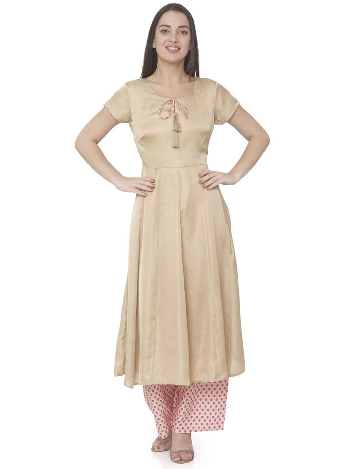 Causal Wear Cream Embroidered Muslin Silk A-line Designer Dress