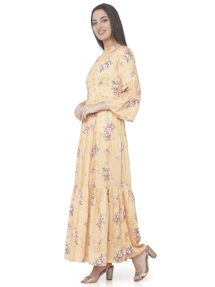 Left Side Yellow Printed Cotton Satin A-line Maxi Dress
