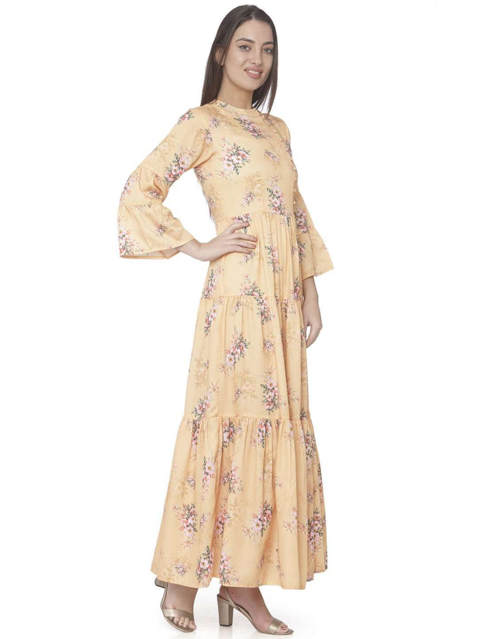 Right Side Yellow Printed Cotton Satin A-line Maxi Dress