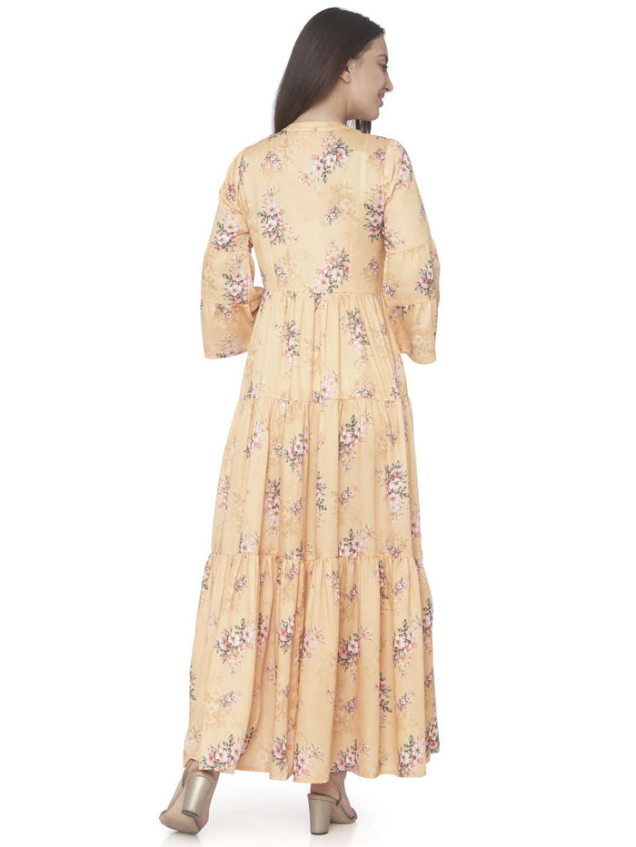 Back Side Yellow Printed Cotton Satin A-line Maxi Dress