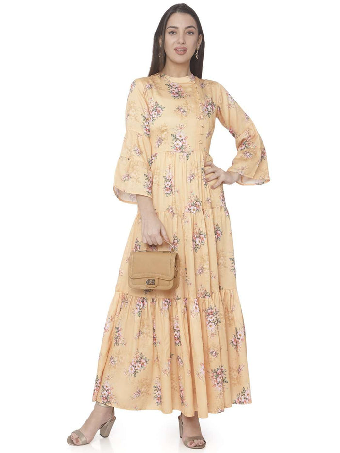 Front Side Casual Yellow Printed Cotton Satin A-line Maxi Dress