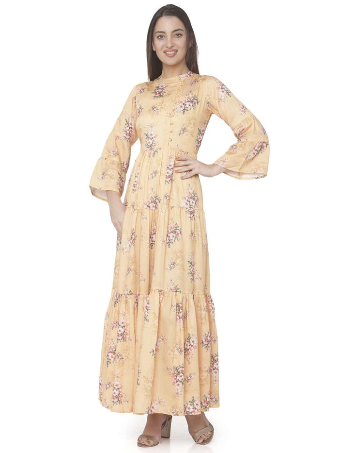 Front Side Yellow Printed Cotton Satin A-line Maxi Dress