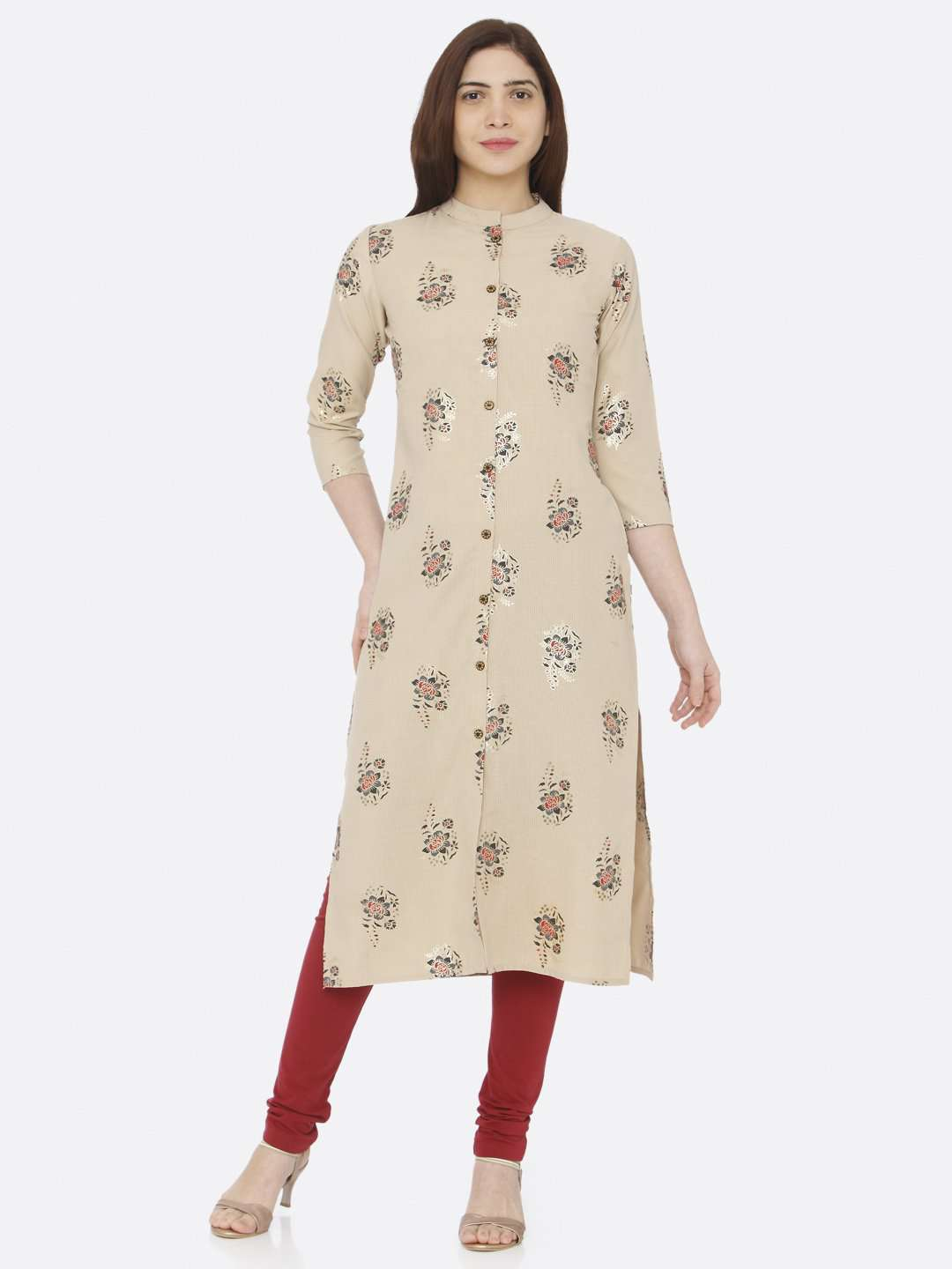 Front Side Beige Printed Cotton Straight Kurti With Maroon Palazzo Pant