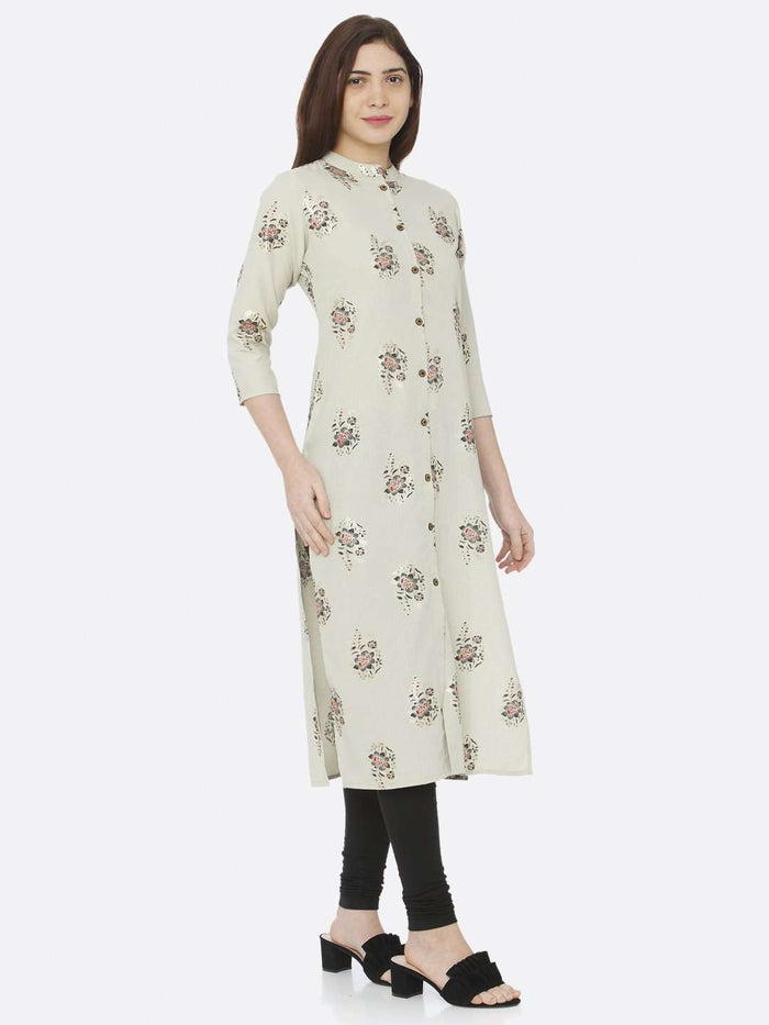 Green Printed Cotton Straight Kurti