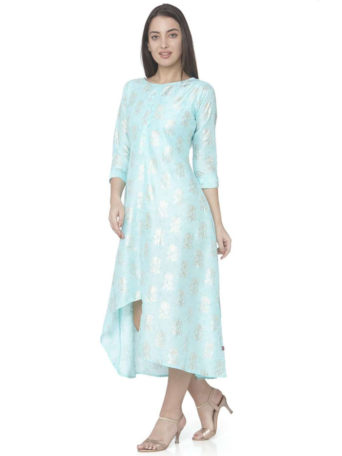 Turquoise Printed Satin Silk A-Line Dress
