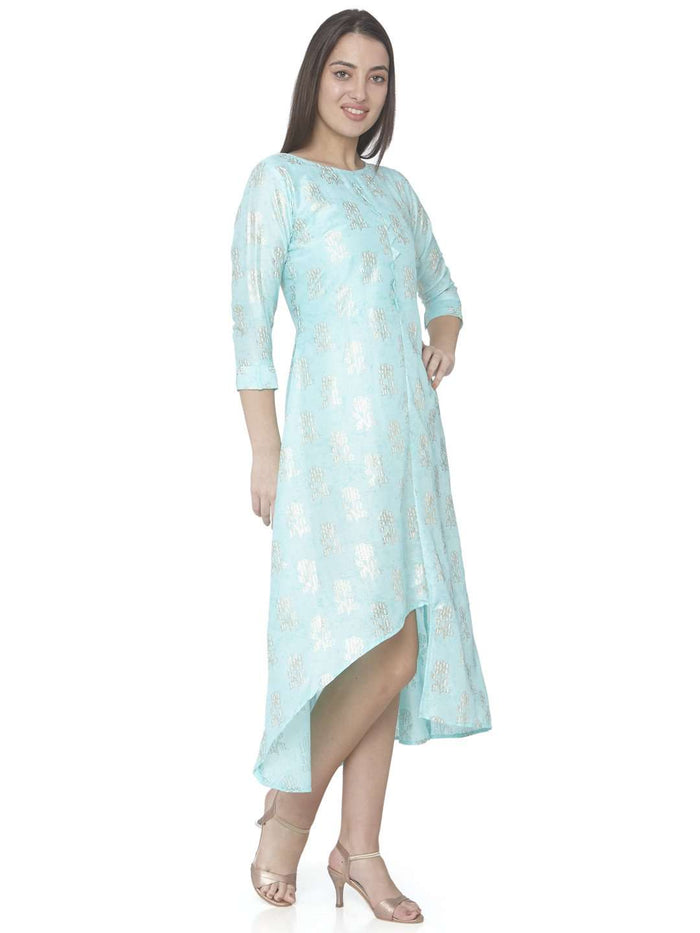 Right Side Turquoise Printed Satin Silk A-Line Dress