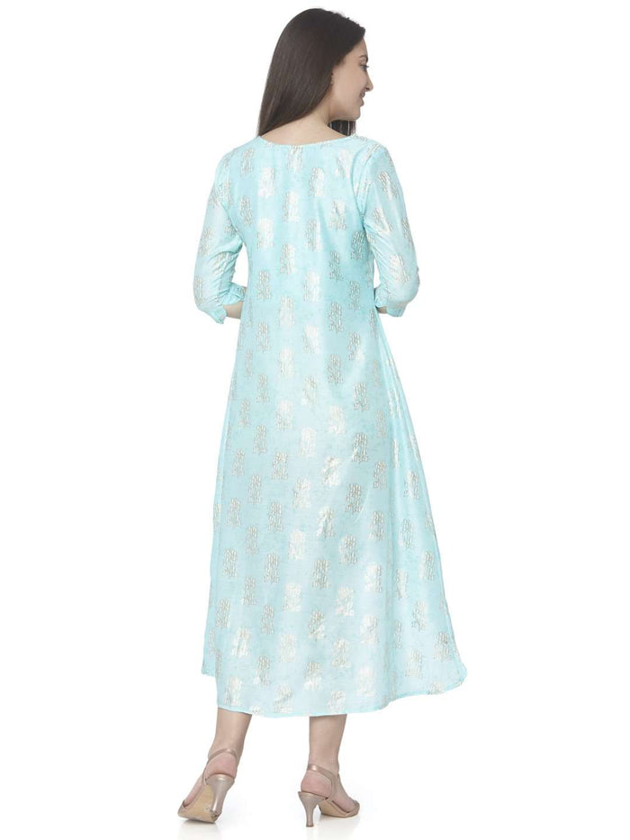Back Side Turquoise Printed Satin Silk A-Line Dress