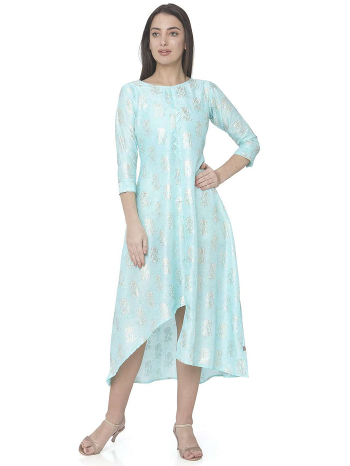 Causal Turquoise Printed Satin Silk A-Line Dress