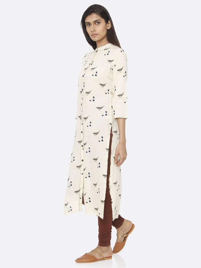 Left Side Cream Printed Cotton Straight Kurti With Brown Palazzo Pant