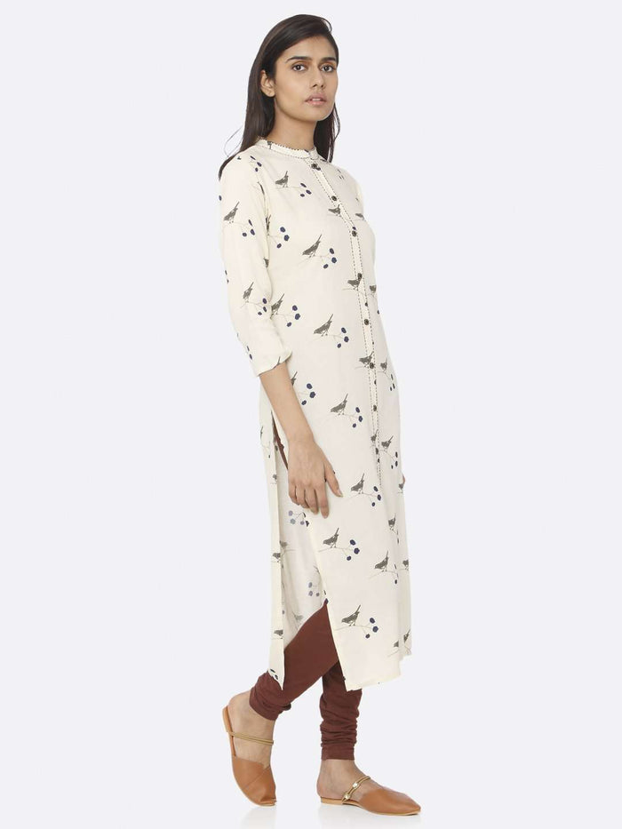 Right Side Cream Printed Cotton Straight Kurti With Brown Palazzo Pant