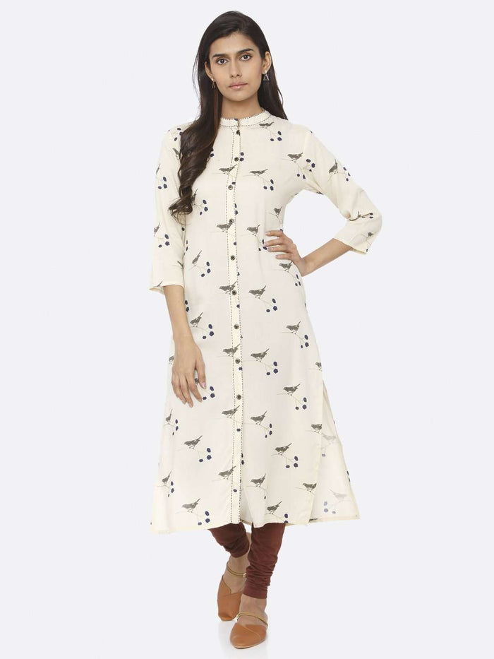Cream Printed Cotton Straight Kurti
