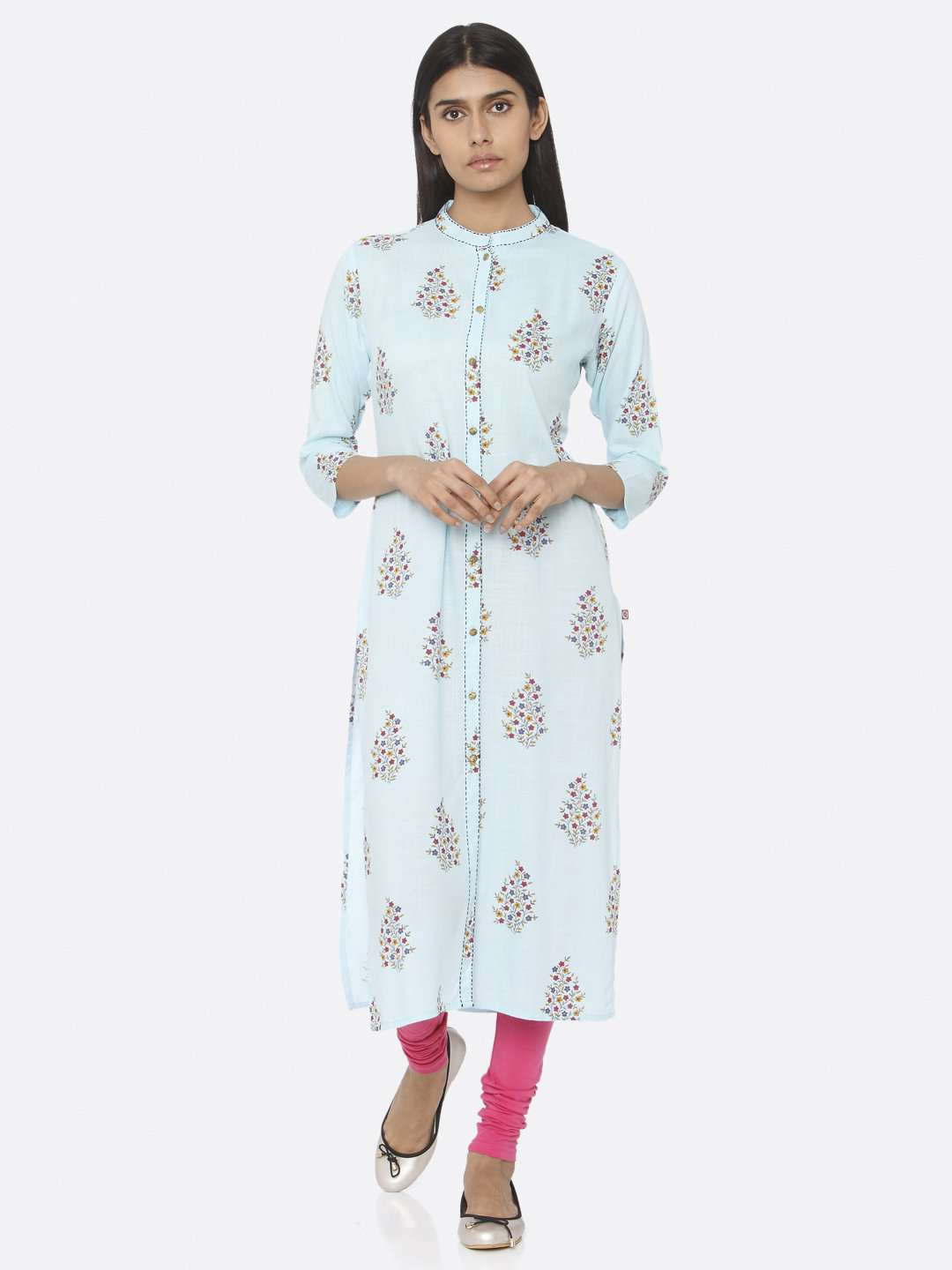 Front Side Blue Printed Cotton Straight Kurti With Pink Palazzo Pant