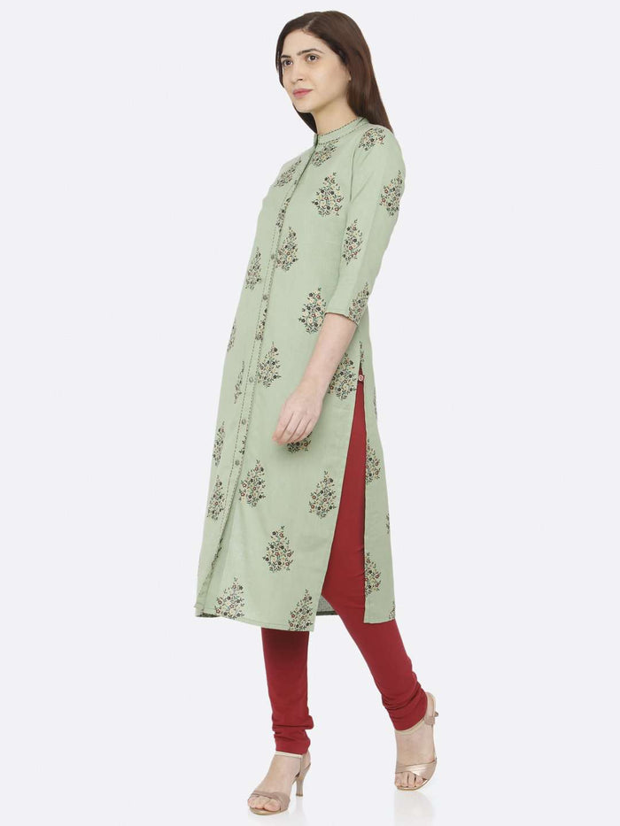 Left Side Green Printed Cotton Straight Kurti With Maroon Palazzo Pant