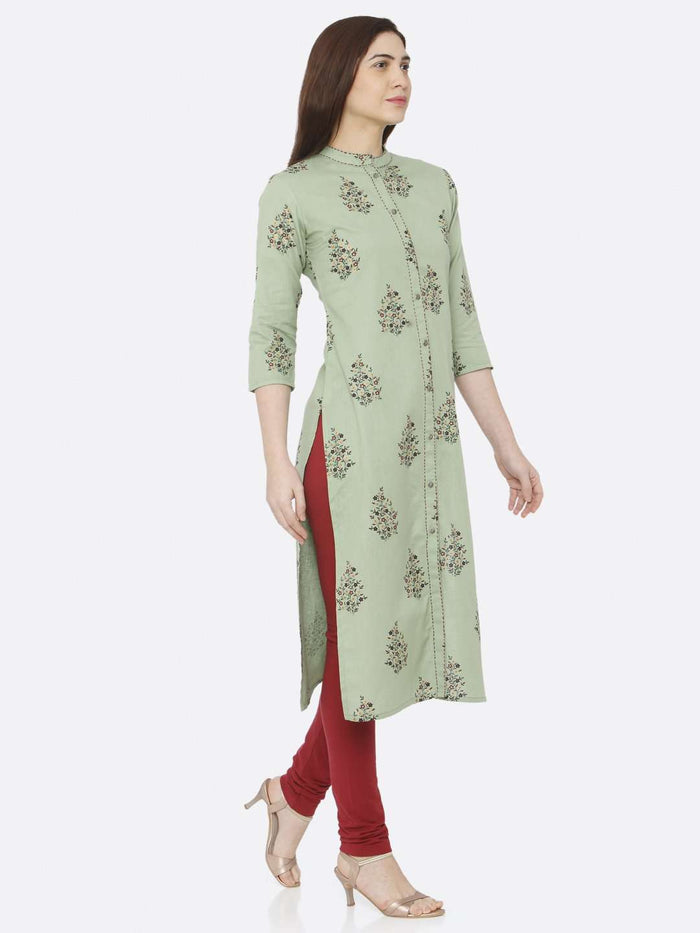 Right Side Green Printed Cotton Straight Kurti With Maroon Palazzo Pant