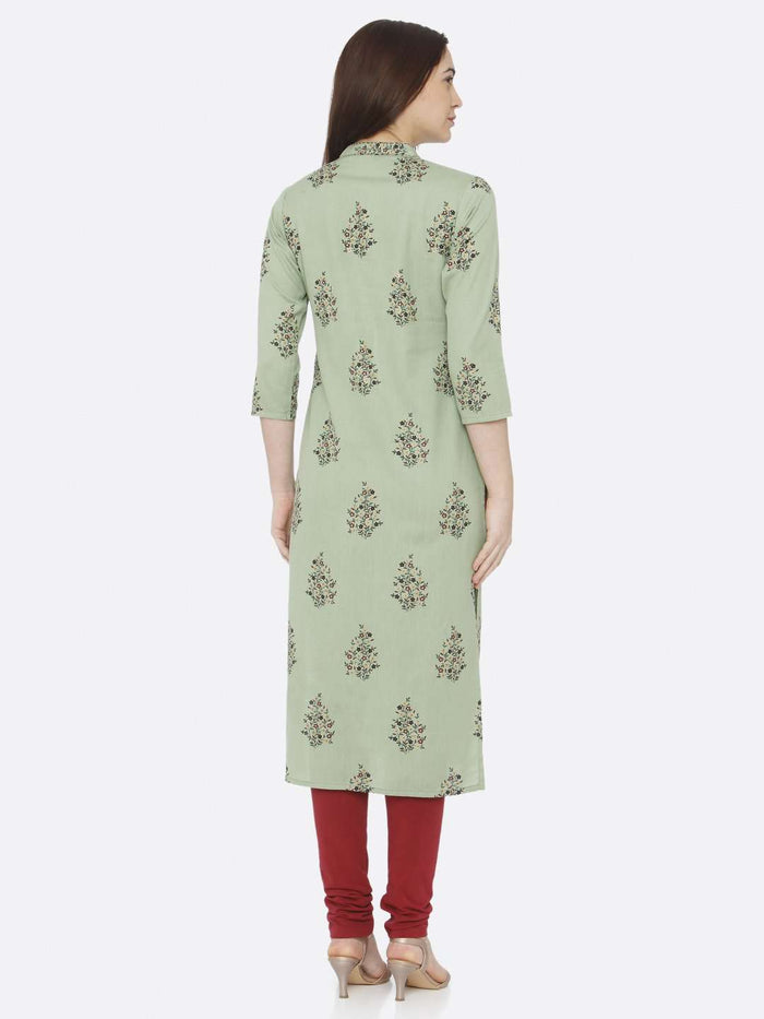Back Side Green Printed Cotton Straight Kurti With Maroon Palazzo Pant