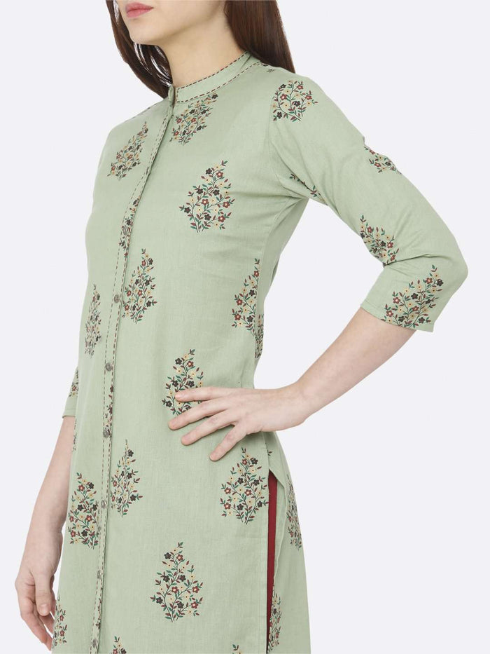 Left Side Printed Cotton Straight Kurti With Green Color