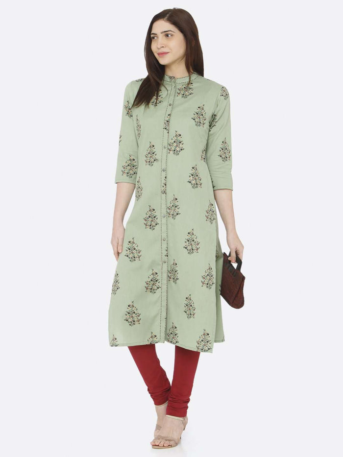 Casual Green Printed Cotton Straight Kurti With Maroon  Palazzo Pant
