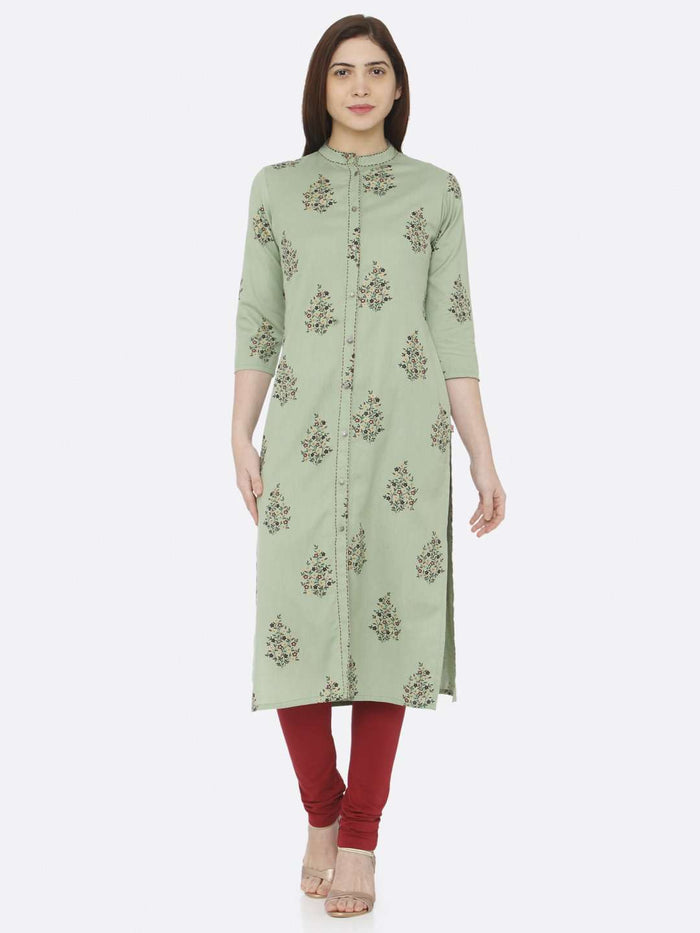 Front Side Green Printed Cotton Straight Kurti With Marron Palazzo Pant