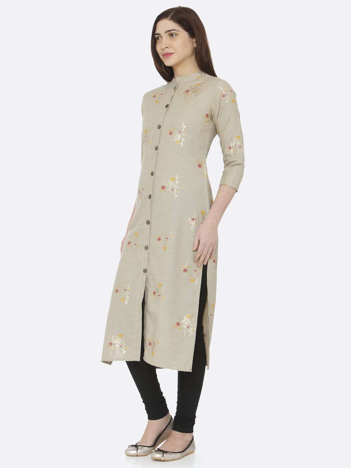 Left Side Beige Printed Cotton Straight Kurti With Palazzo Pant
