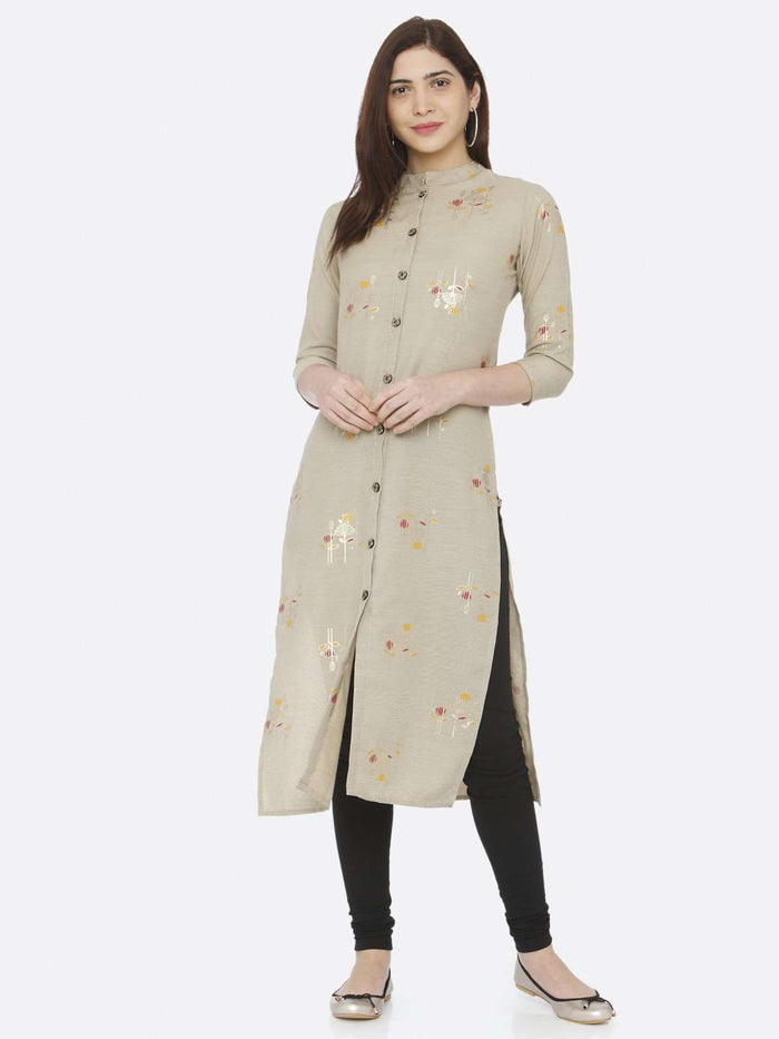 Front Side Beige Printed Cotton Straight Kurti