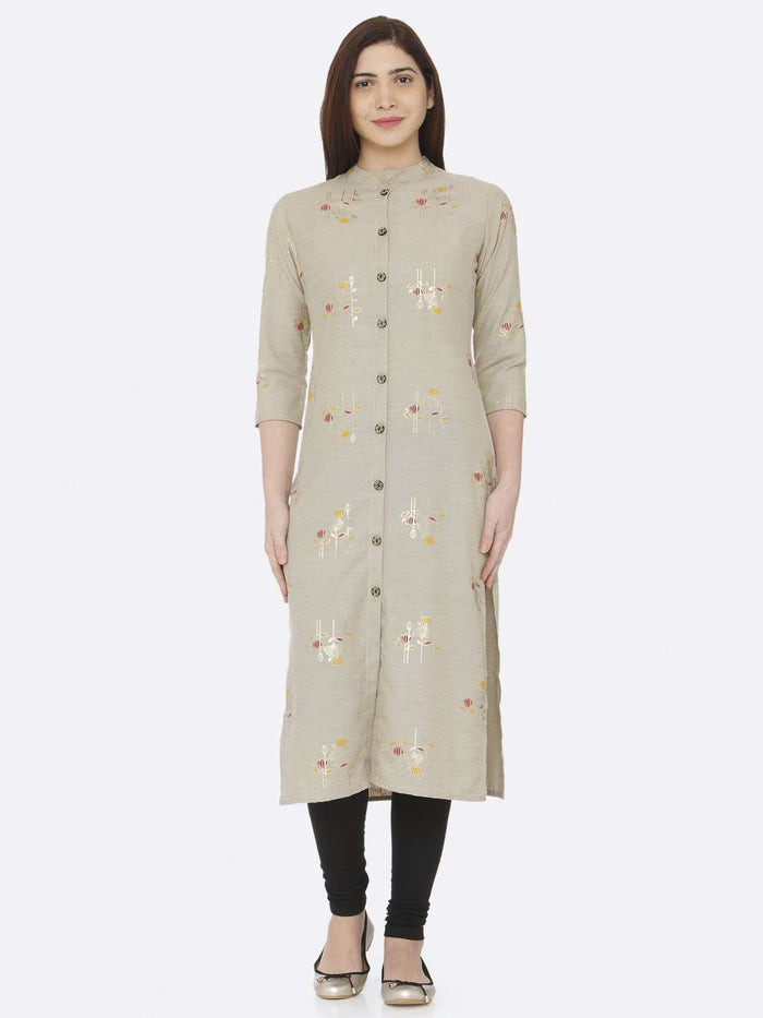 Front Site Beige Printed Cotton Straight Kurti With Black Palazzo Pant