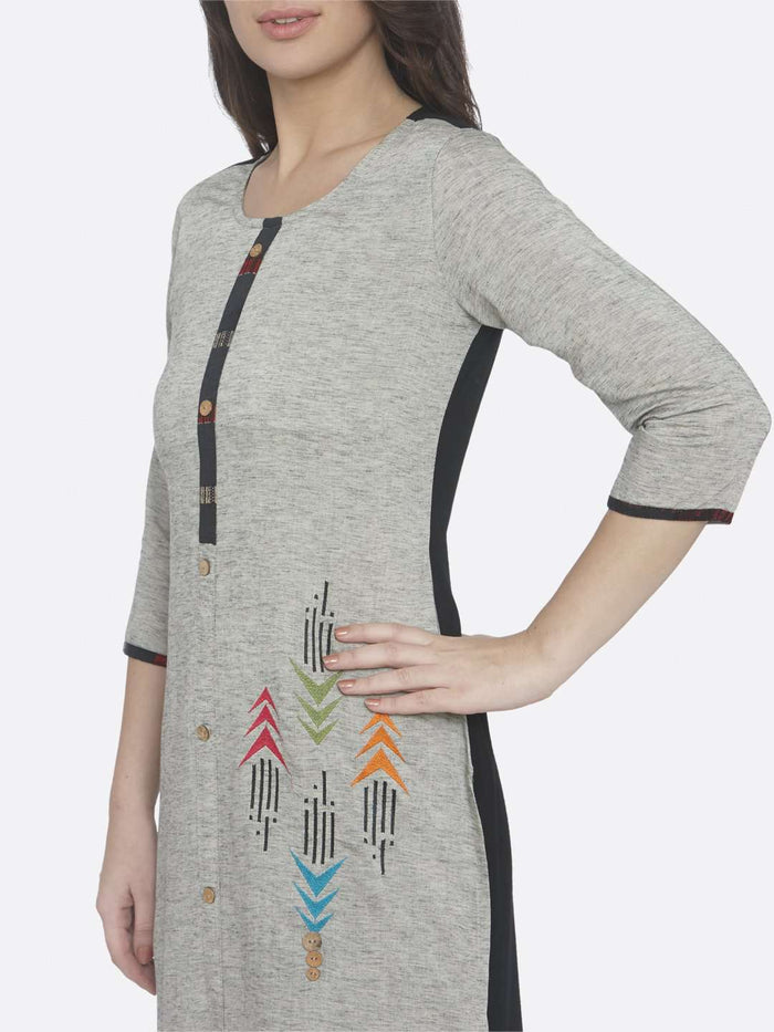 Grey Embroidered Cotton Straight Kurti