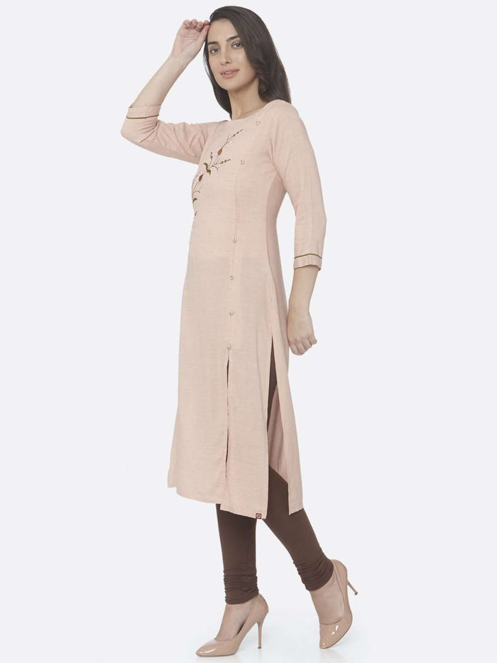 Left Side Peach Embroidered Viscose Rayon Straight Kurti With Brown Palazzo Pant