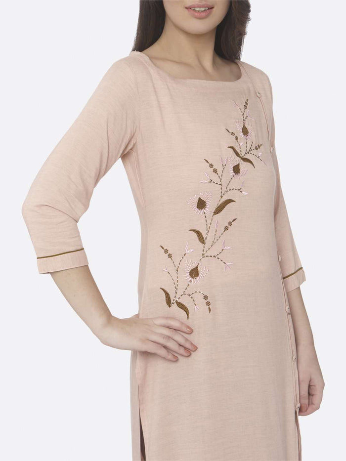 Right Side Embroidered Viscose Rayon Straight Kurti with Peach Color