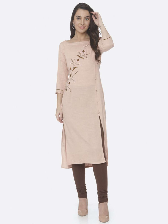 Front Side Embroidered Viscose Rayon Straight Kurti With Peach Color