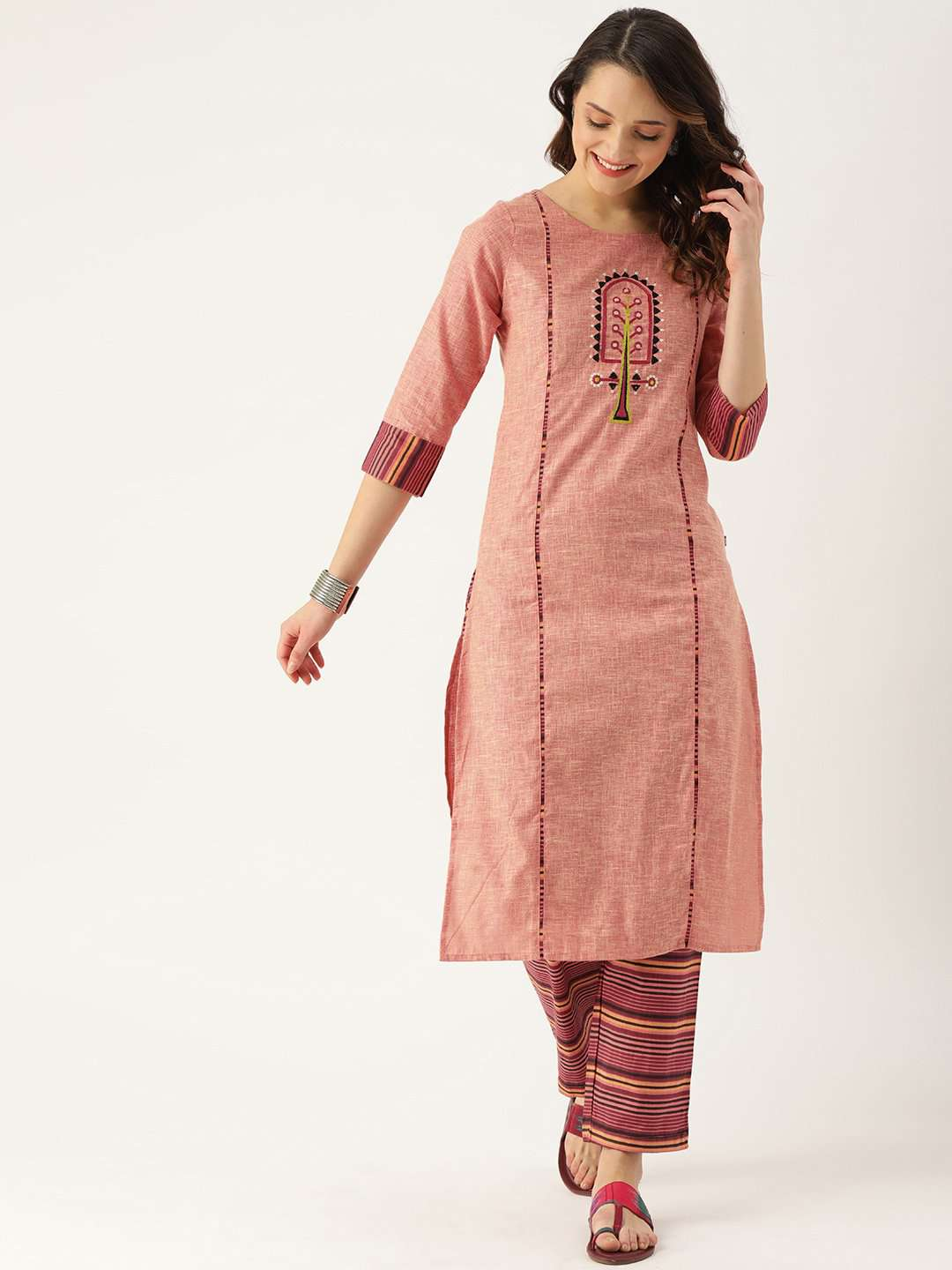 Pink Embroidered Cotton Straight Kurta With Pant