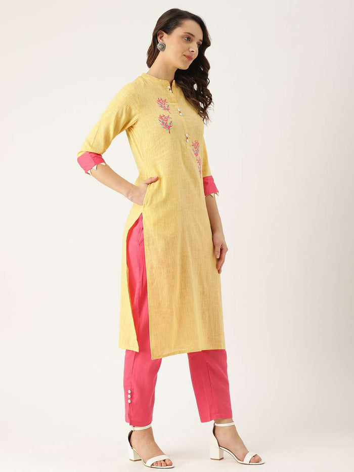 Right Side Yellow Embroidered Cotton Straight Kurta With Palazzo Pant
