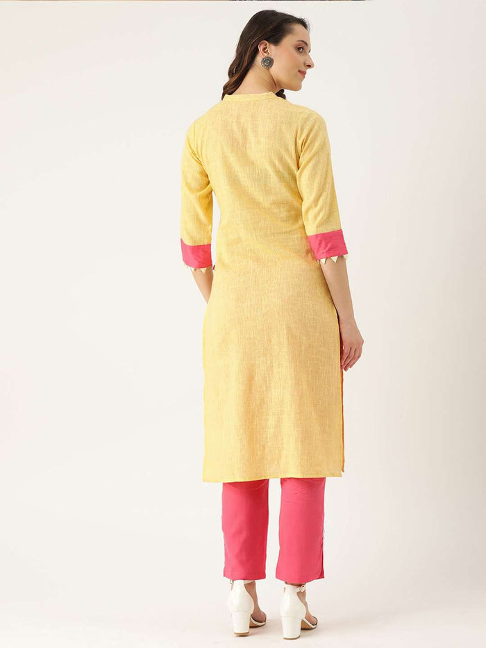 Back Side Yellow Embroidered Cotton Straight Kurta With Pink Palazzo Pant