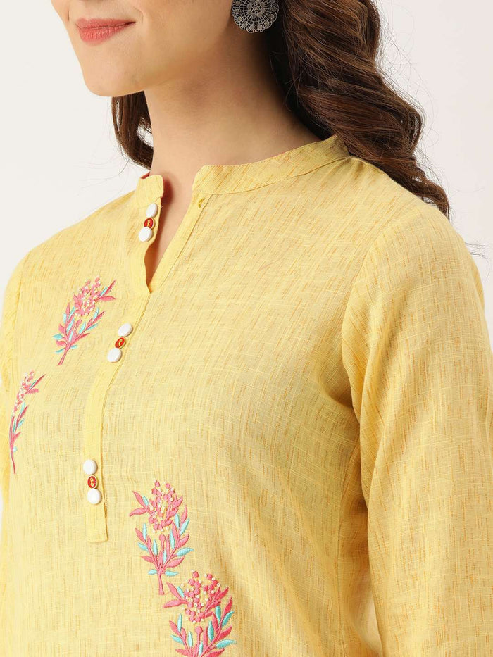 Left Side Embroidered Cotton Straight Kurta With Yellow Color