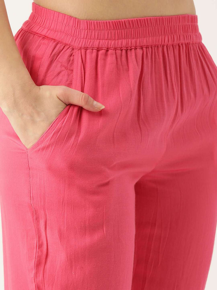 Right Side Cotton Straight Pant With Pink Pant
