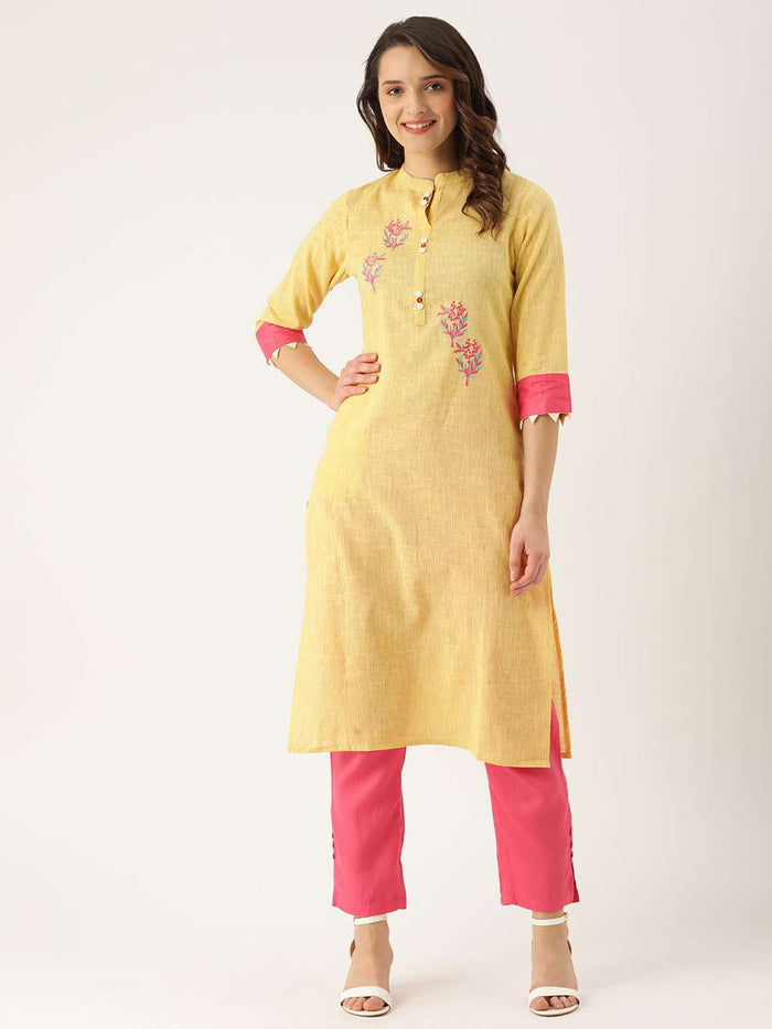 Front Side Yellow Embroidered Cotton Straight Kurta With Pink Palazzo Pant