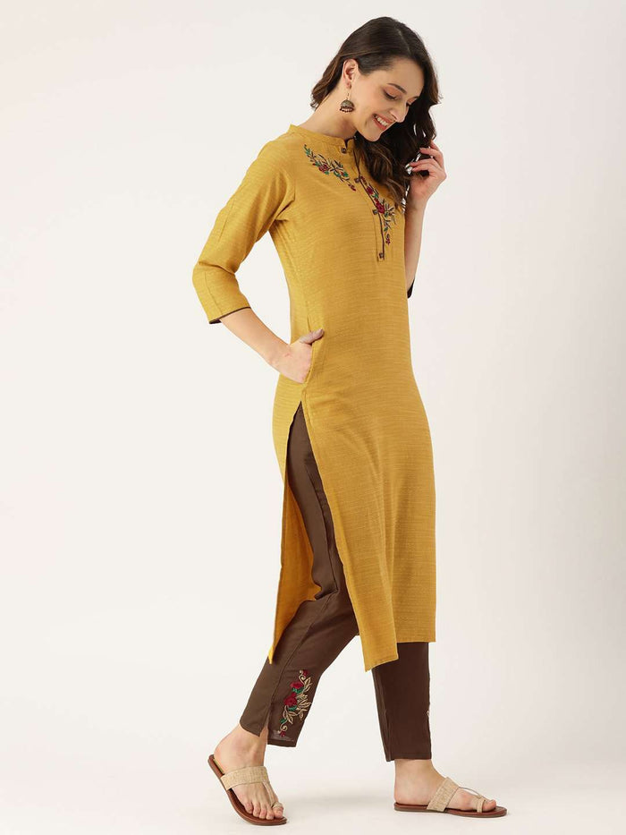 Yellow Embroidered Cotton Straight Kurta With Pant