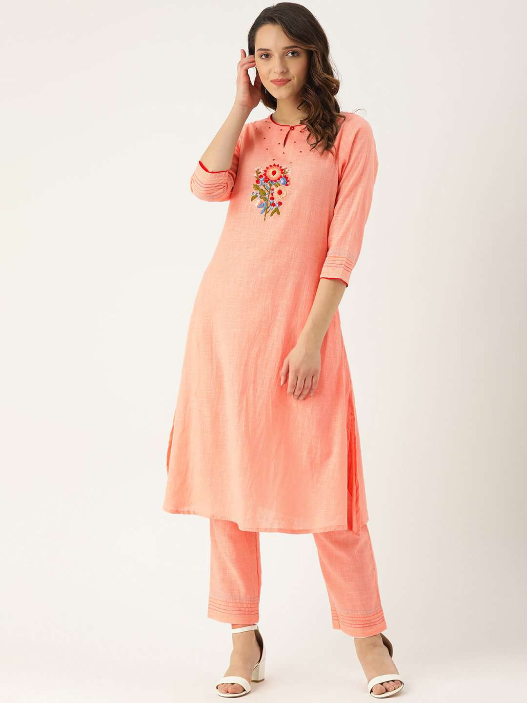 Front Side Peach Embroidered Cotton Straight Kurta With Pant