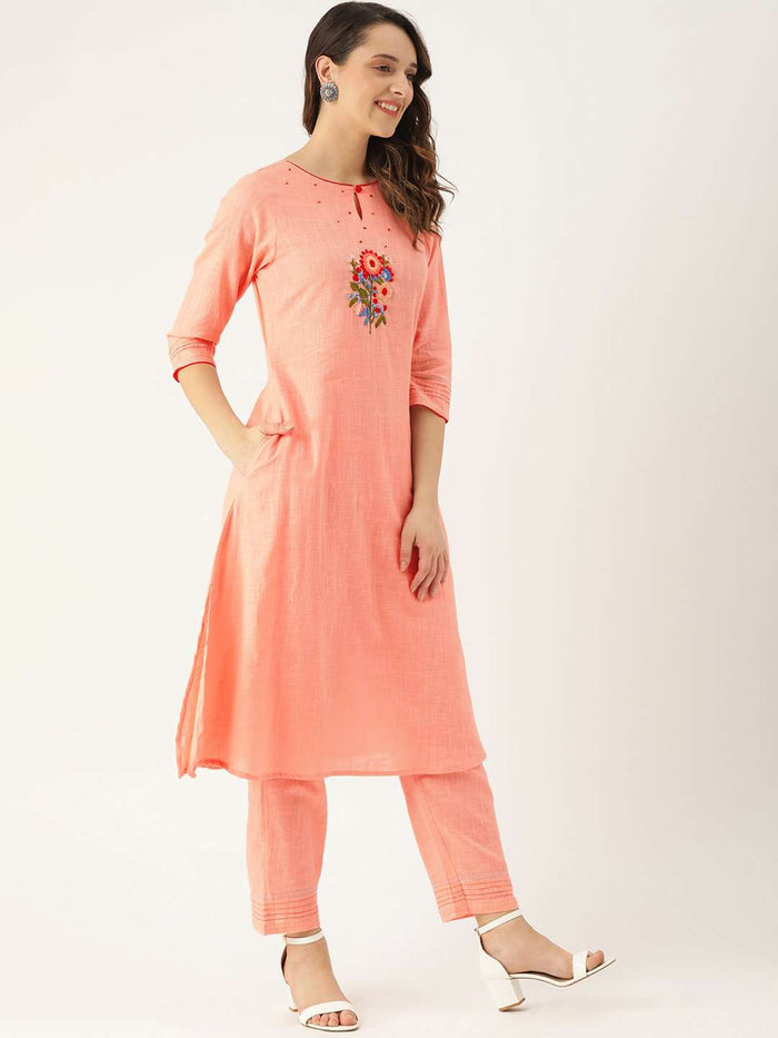 Right Side Peach Embroidered Cotton Straight Kurta With Pant