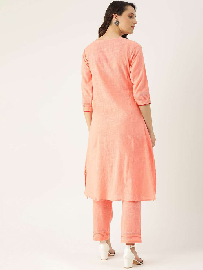 Back Side Peach Embroidered Cotton Straight Kurta With Pant