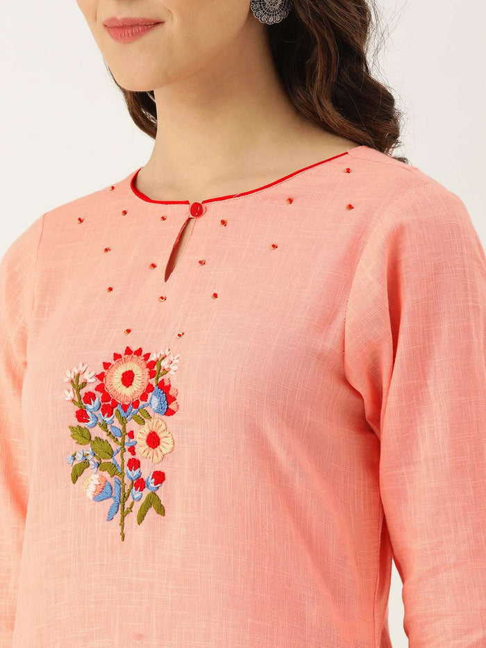 Front Side Peach Embroidered Cotton Straight Kurti