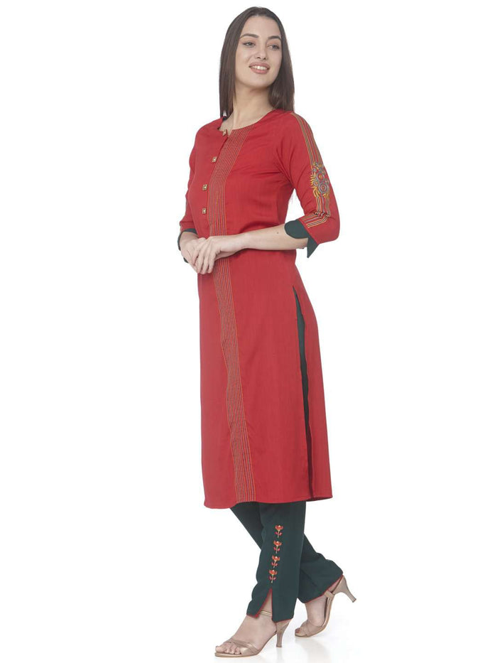 Left Side Red Embroidered Cotton Straight Kurti With GreenPant