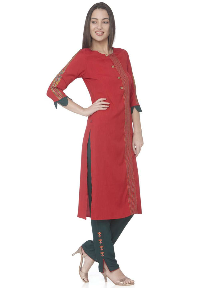 Right Side Red Embroidered Cotton Straight Kurti With Palazzo Pant