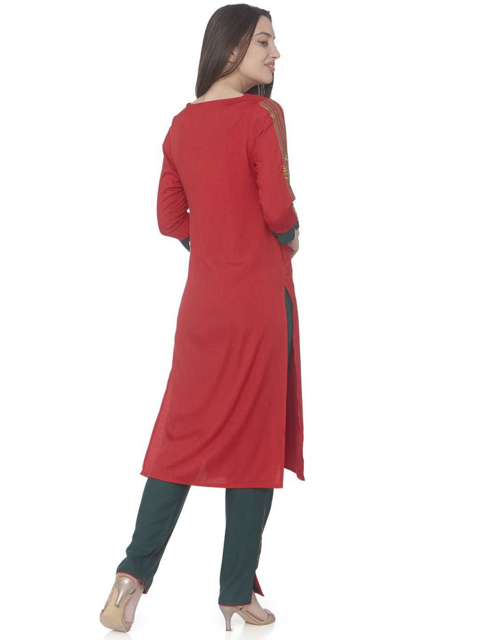 Back Side Red Embroidered Cotton Straight Kurti With Green Palazzo Pant
