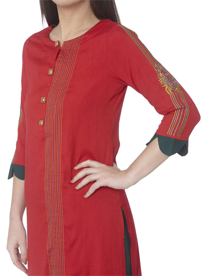 Left Side Embroidered Cotton Straight Kurti With Red Color