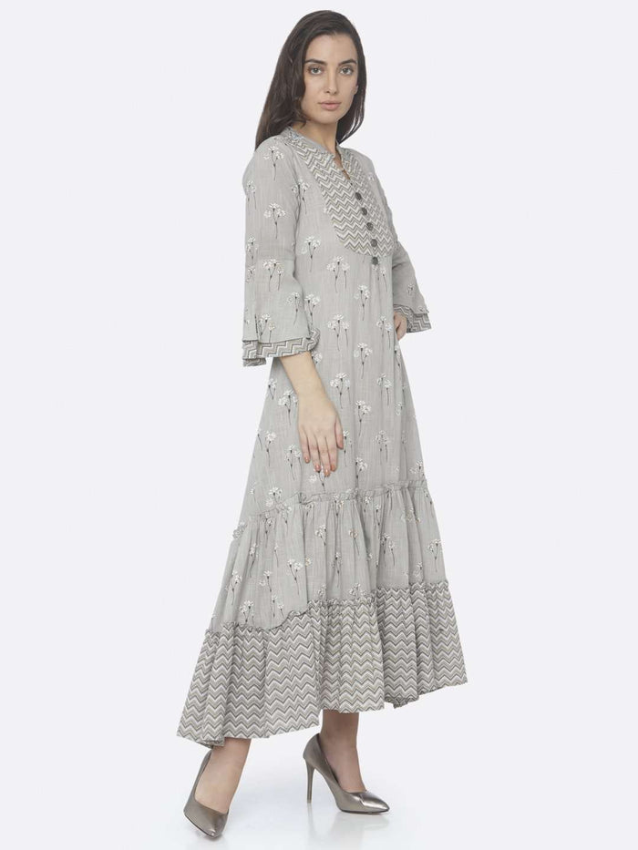 Right Side Grey Printed Cotton A -Line Maxi Dress