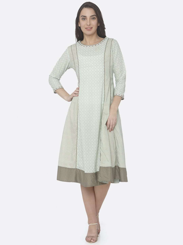 Green Printed Cotton A-Line Dress