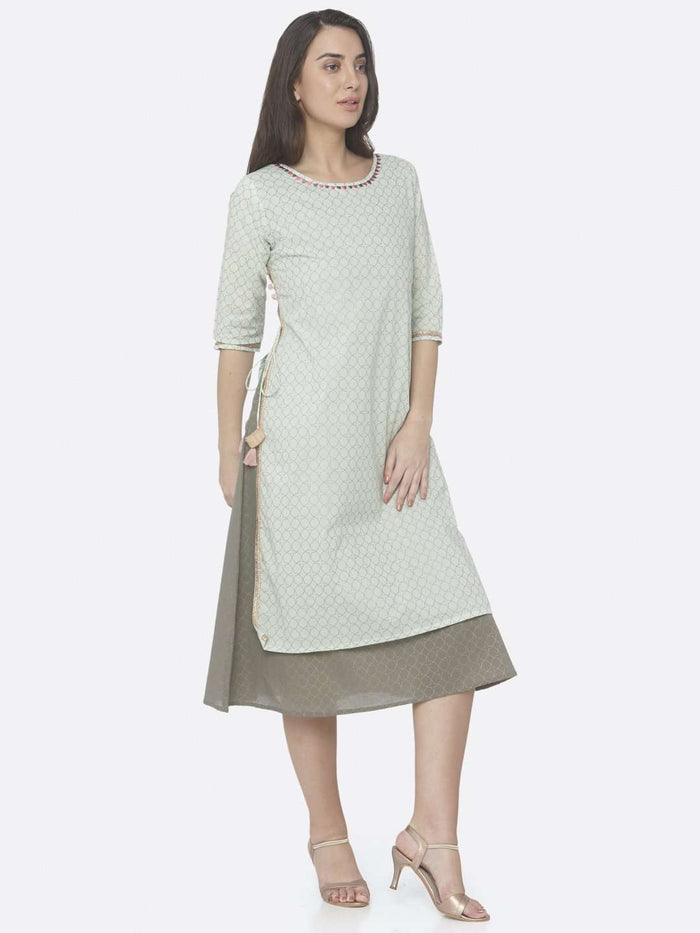 Right Side Green Embellished Cotton A-Line Dress